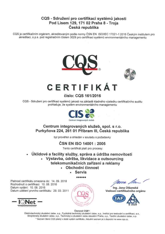 Certifikace ISO - Systém environmentálního managementu